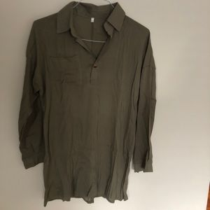 Tops - Olive green light fabric tunic. New